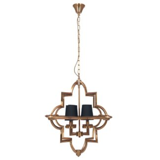 An Image of Four Shade Pendant, Antique Brass