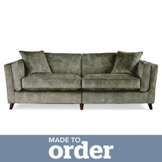 An Image of Arabella 4 Seater Sofa Slub Velvet Green