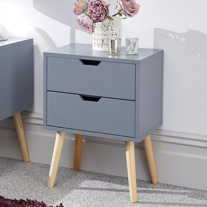 An Image of Nyborg Wooden Bedside Cabinet In Dark Grey With 2 Drawers