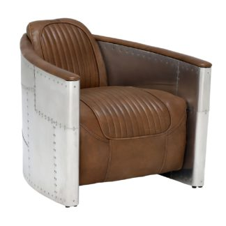 An Image of Timothy Oulton Aviator Tomcat Armchair, Destroyed Raw