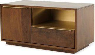 An Image of Anderson Compact TV Stand, Mango Wood & Brass