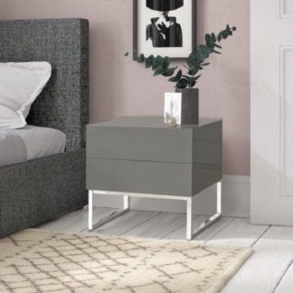 An Image of Strada Grey Gloss Bedside Cabinet With Glass Top And 2 Drawers