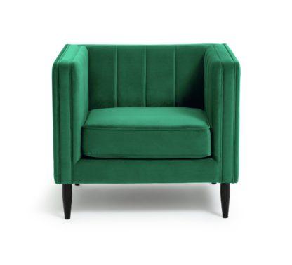 An Image of Habitat Vanessa Velvet Armchair - Green