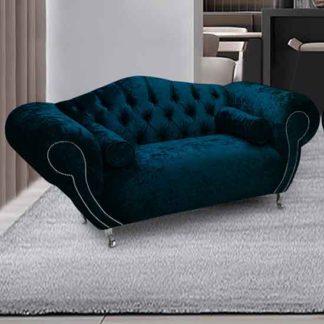 An Image of Huron Malta Plush Velour Fabric 2 Seater Sofa In Peacock