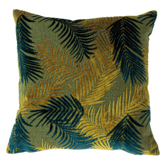 An Image of Palm Gold and Teal Cushion