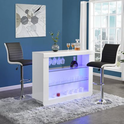 An Image of Fiesta White High Gloss Bar Table With 2 Ritz Black White Stools