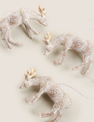 An Image of M&S 3 Pack Hanging Reindeer Decorations