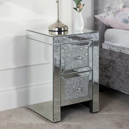 An Image of Vienna Glass Bedside Cabinet In Mirrored With 2 Drawers