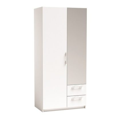 An Image of Vegas Mirrored Wardrobe In Pearl White And Linen With 2 Doors