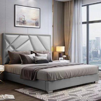 An Image of Cherokee Plush Velvet King Size Bed In Grey