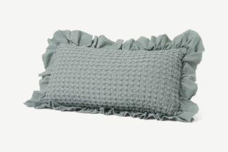 An Image of Lozen Waffle 100% Organic Cotton Cushion, 30 x 50cm, Seafoam