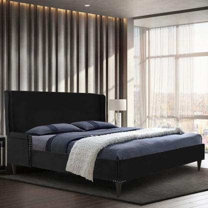 An Image of Scottsbluff Plush Velvet King Size Bed In Black