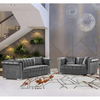 An Image of Kenosha Velour Fabric 2 Seater And 3 Seater Sofa In Grey