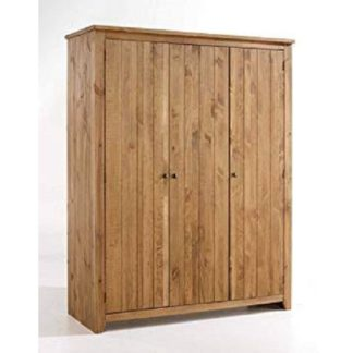 An Image of Pascal 3 Door Wardrobe In Pine finish