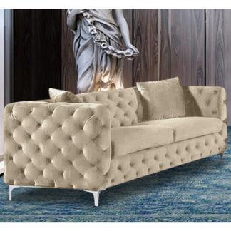 An Image of Mills Malta Plush Velour Fabric 3 Seater Sofa In Cream