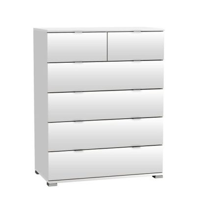 An Image of Dylan Wooden Chest Of Drawers In Pearl White