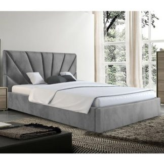An Image of Hixson Plush Velvet Super King Size Bed In Grey
