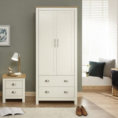An Image of Crick Small Wardrobe In Cream With Oak Effect Top