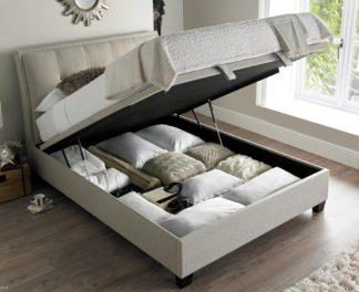 An Image of Accent Oatmeal Fabric Ottoman Storage Bed Frame - 5ft King Size