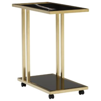 An Image of Zion Tray Marble Accent Table, Sahara Noir