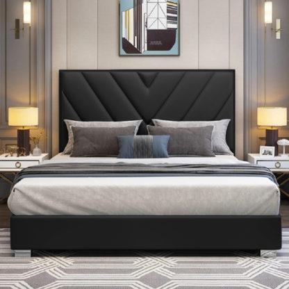 An Image of Dewitt Plush Velvet Super King Size Bed In Black
