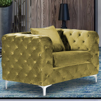 An Image of Mills Malta Plush Velour Fabric Armchair In Grass
