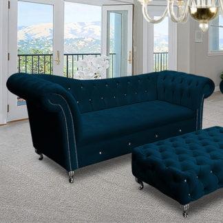 An Image of Izu Plush Velvet 3 Seater Sofa In Peacock