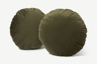 An Image of Julius Set of 2 Round Cushions, 45cm, Pistachio Green