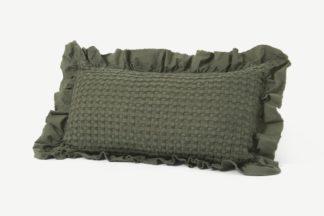 An Image of Lozen Waffle 100% Organic Cotton Cushion, 30 x 50cm, Forest Green