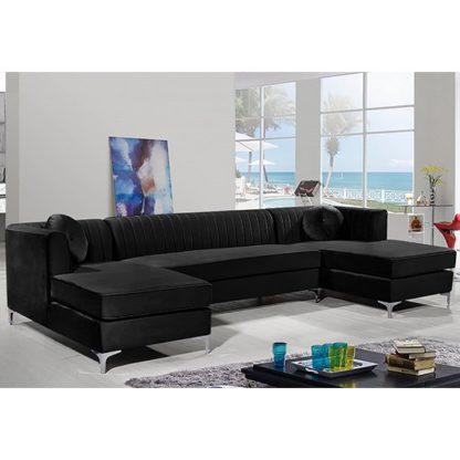 An Image of Asbury U-Shape Plush Velvet Corner Sofa In Cosmic