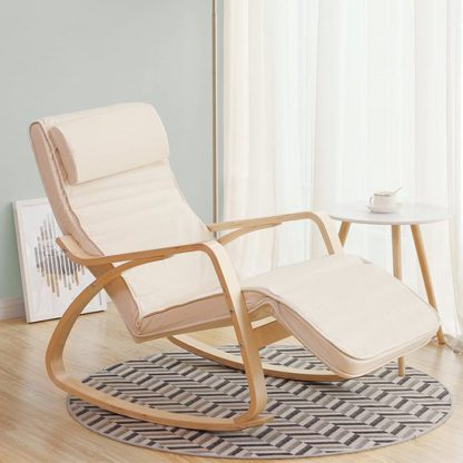 An Image of Orano Rocking Chair In Creamy White With Wooden Armrests