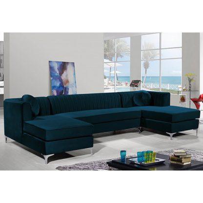 An Image of Asbury U-Shape Plush Velvet Corner Sofa In Peacock