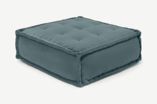 An Image of Sully Floor Cushion, Marine Green Velvet