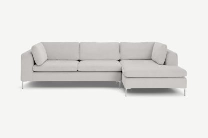 An Image of Monterosso Right Hand Facing Chaise End Sofa, Stone Grey Corduroy Velvet