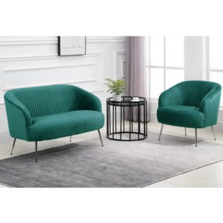 An Image of Layla Fabric Upholstered Armchair And 2 Seater Sofa In Green