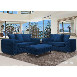 An Image of Worley Velour Fabric 2 Seater And 3 Seater Sofa In Navy