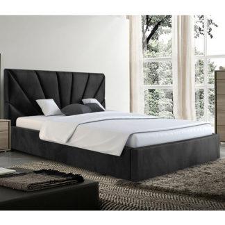 An Image of Hixson Plush Velvet King Size Bed In Black