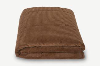 An Image of Selky Corduroy Bedspread, 125 x 225cm, Dark Tan