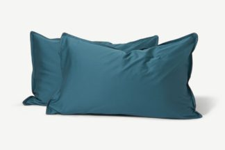 An Image of Hylia Washed Cotton Satin Pair of Pillowcases, Teal Blue