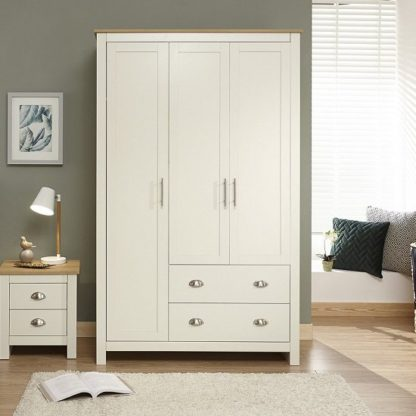 An Image of Crick Large Wardrobe In Cream With Oak Effect Top