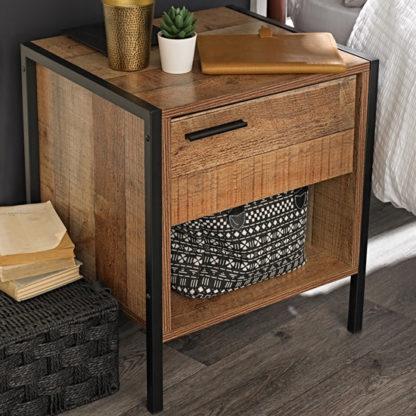 An Image of Hoston Wooden Bedside Cabinet In Distressed Oak