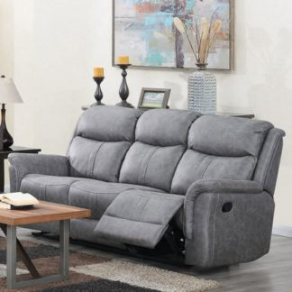 An Image of Portland Fabric 3 Seater Recliner Sofa In Silver Grey
