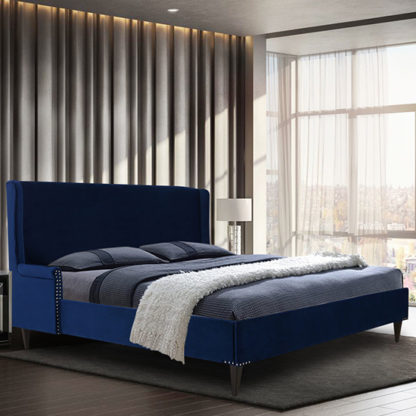 An Image of Scottsbluff Plush Velvet Super King Size Bed In Blue