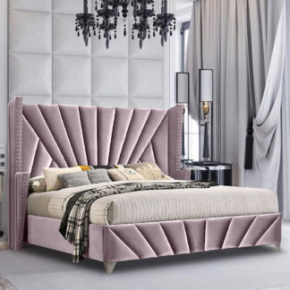 An Image of Pikeville Plush Velvet King Size Bed In Pink