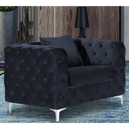 An Image of Mills Malta Plush Velour Fabric Armchair In Slate