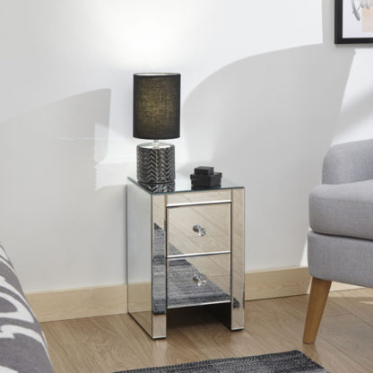 An Image of Melbourne Wooden Mirrored Bedside Cabinet In Clear