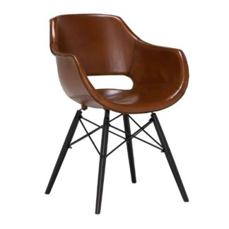 An Image of Acker Dining Chair , Light Brown Gloss