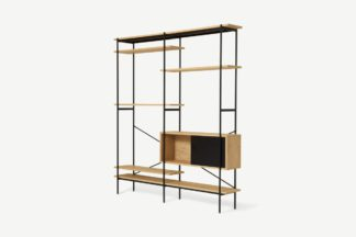 An Image of Angus Wide Shelving Wall Unit, Oak Effect & Perforated Metal
