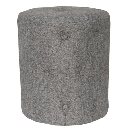An Image of Zebulon Round Fabric Stool In Dark Grey