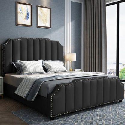 An Image of Abilene Plush Velvet Single Bed In Black